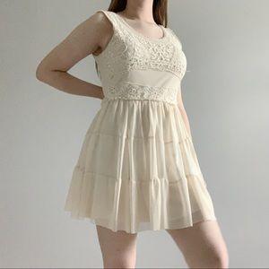 Rue 21 cream lace scoop neck casual dress